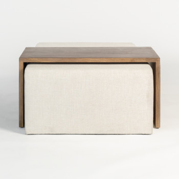 Asher Ottoman In Subtle Linen And Brindled Ash
