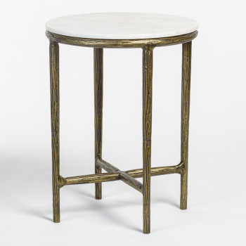Baron End Table In Cloud Marble And Antique Bronze