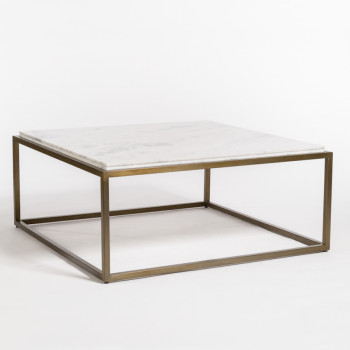 Beckett Coffee Table In Cloud Marble And Antique Brass