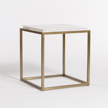 Beckett End Table In Cloud Marble And Antique Brass