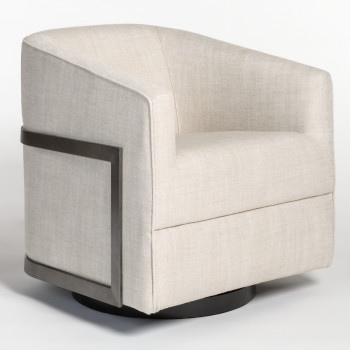Blaine Occasional Swivel Chair In Everest Frost And Blackened Nickel