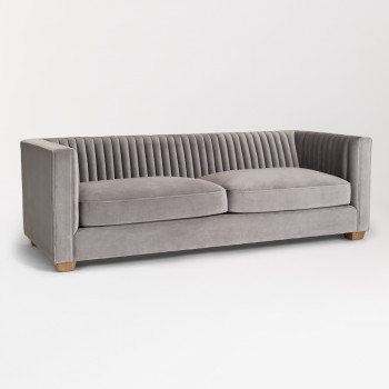 Blake Sofa In Powder Grey And Weathered Beechwood