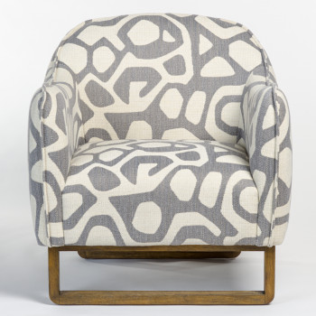 Fitz Occasional Chair In Greige Graphic And French Oak