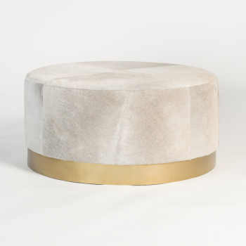 Jordan Ottoman In Frosted Hide And Antique Brass