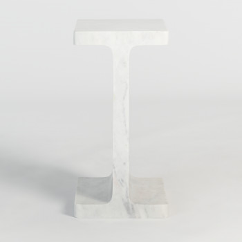 Solitude End Table In Polar White Marble