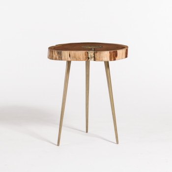 Vail Molten End Table In Natural Finish And Bronze Fill
