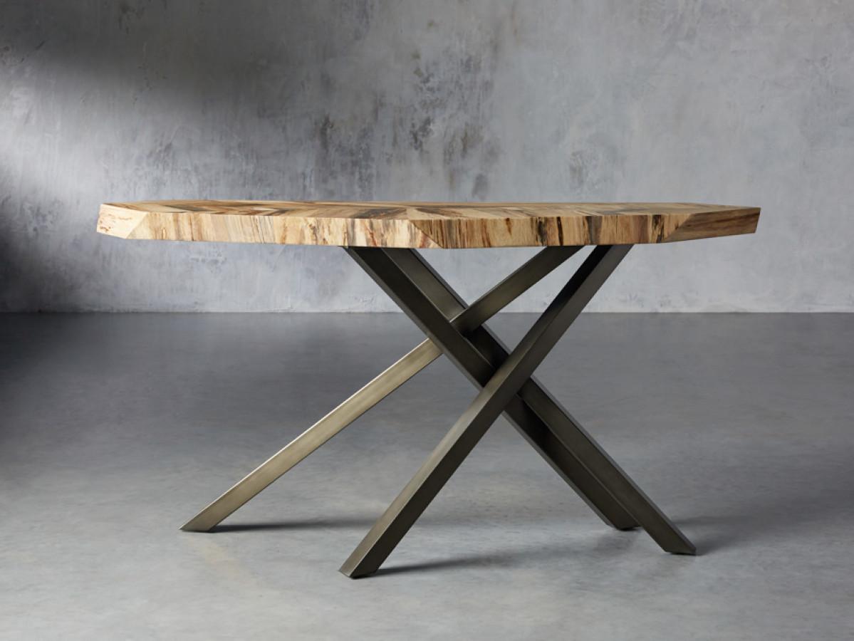 "Console Table, Palografico wood veneer, tripod steel base in gunmetal finish, 62""W"