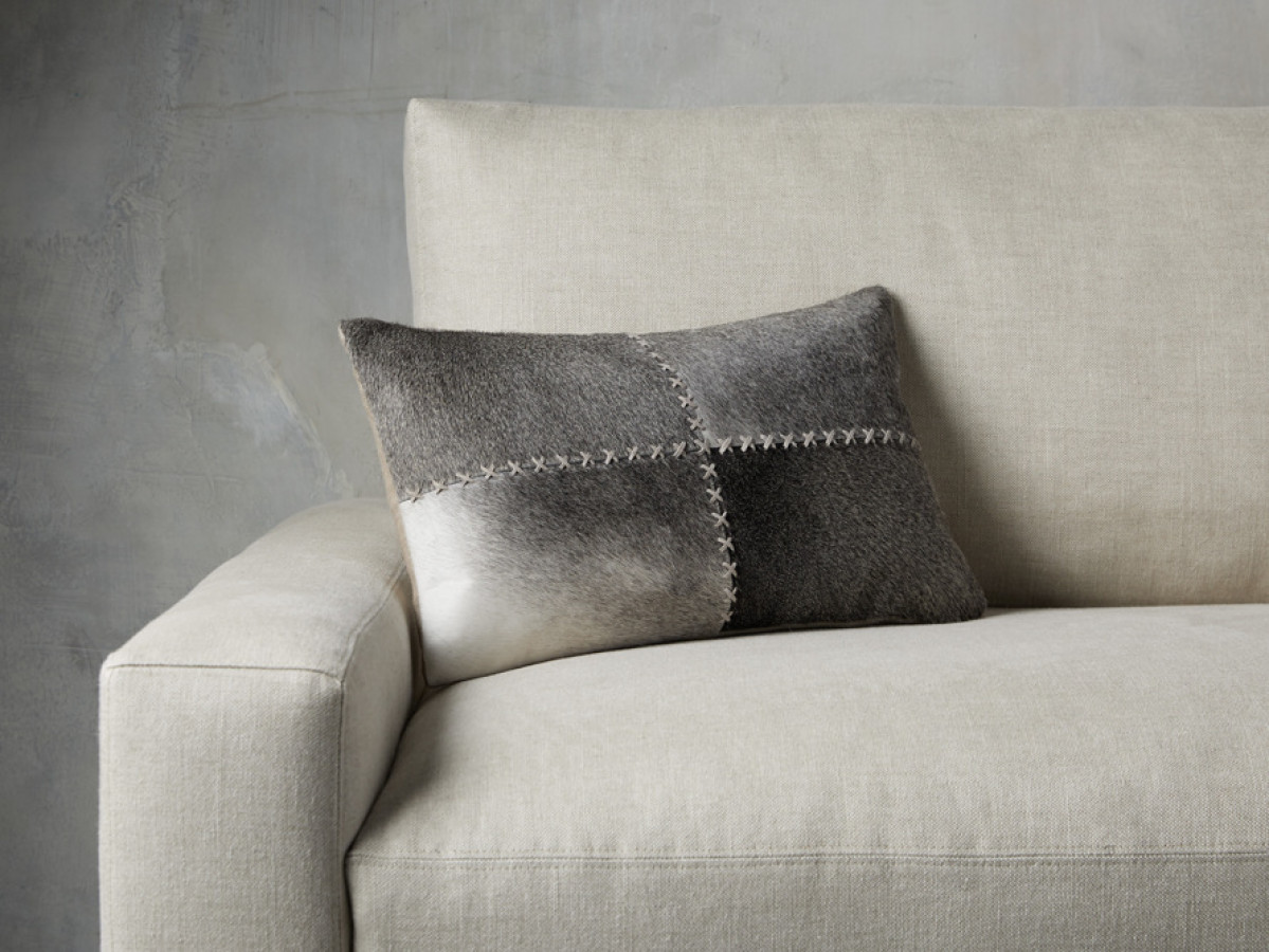 Whipstitch Hide Lumbar Pillow In Grey