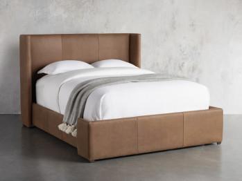 """Wyller Leather 52"""" Queen Bed In Lukas Pecan"""