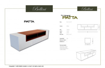 Patta Tv Stand White With Walnut Accent