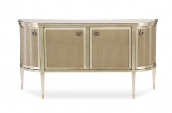 Fumed Maple And Taupe Silver Leaf Sideboard