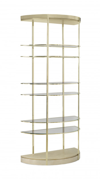 Gold Half Moon Etagere With Glass Shelves