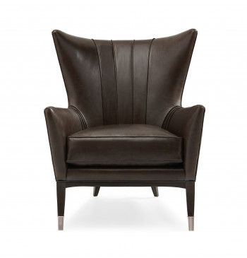 Leather Wingback Chair With Metal Ferrules