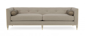Taupe Tuxedo Sofa With Exposed Frame
