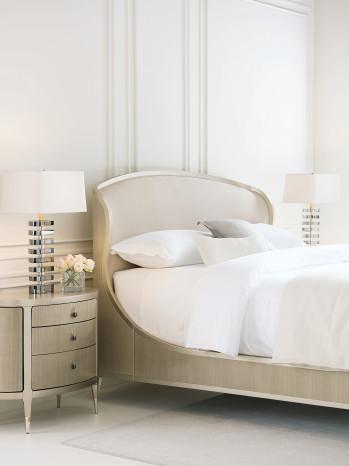 Upholstered Shimmer Sleigh Bed - King