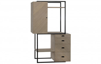 Neuville Bookshelf And Cabinet Unit, Reclaimed Lumber/Metal