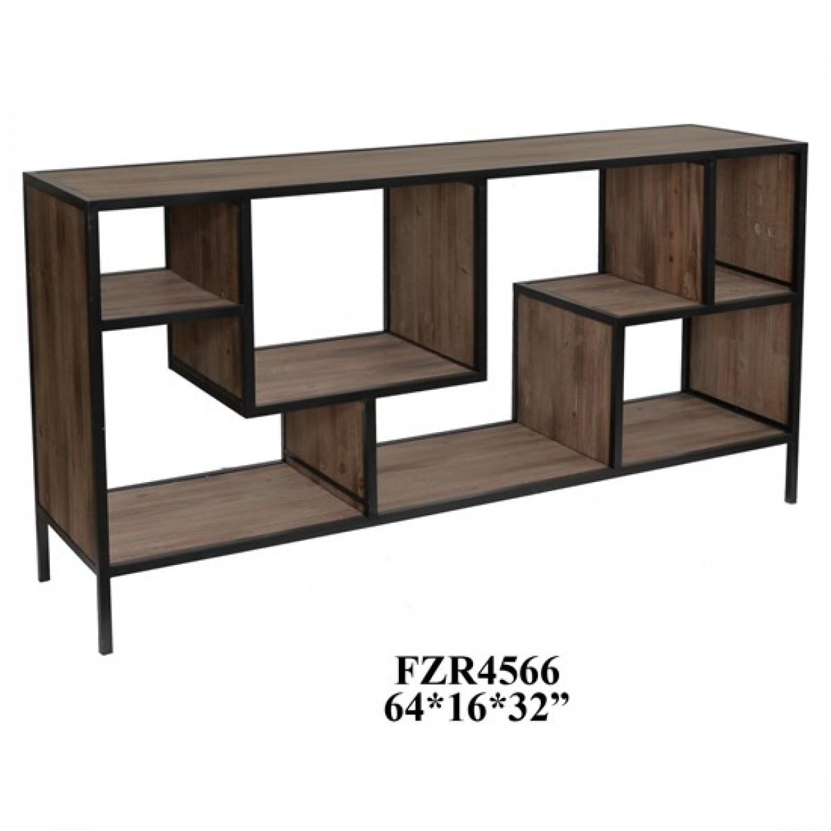 "Console, Modern Geometric Angled Wood with Metal Trim, 64"""