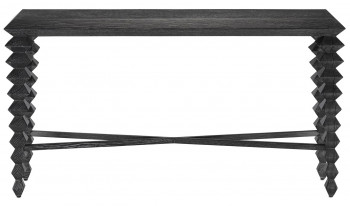 """Console , Rustic Oak wire-brushed & cerused black finish highlights the wood grain, """"60""""W"""