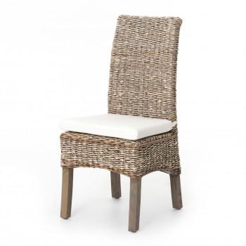 Banana Leaf Chair W/Cushion-Grey Wash