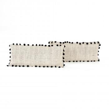 "Black Fringe Trim Pillow,Set Of 2-12X28"""