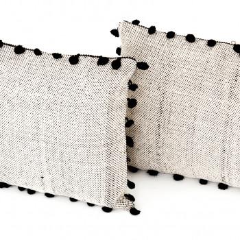 "Black Fringe Trim Pillow,Set Of 2-16X24"""