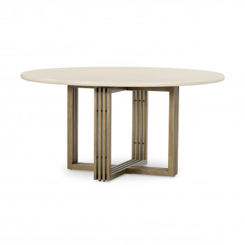 Mia Round Dining Table-Parchment White