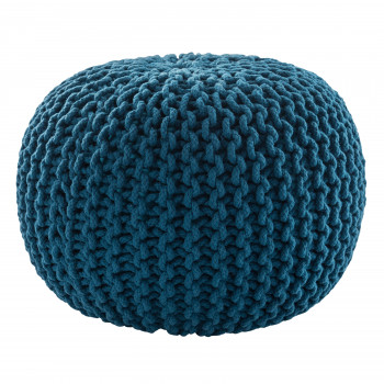 Jaipur Living Spectrum Pouf Textured Blue Round Pouf