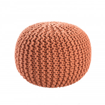 Jaipur Living Spectrum Pouf Textured Orange Round Pouf