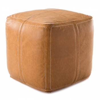 Nikki Chu By Jaipur Living Suave Solid Tan Cube Pouf