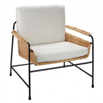 Palermo Lounge Chair In Natural Rattan & Black Steel With Off White Cushions
