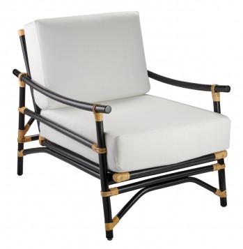 Xanadu Lounge Chair In Black & Cream Rattan With Off White Cushions