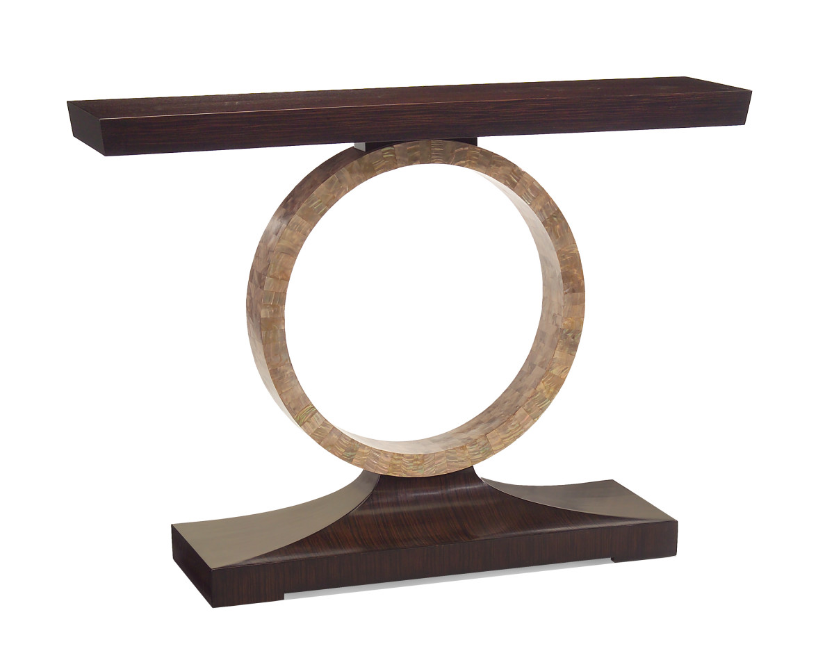 """Console, Modern Sophistication, Macassar Ebony Acacia Wood, Mother of Pearl ring, 54"""""""