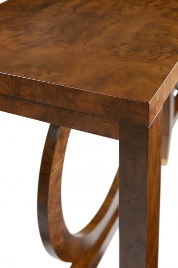 """Console, Architectural Design in Walnut Burl Veneer, Hand Rubbed Finish,  70""""w"""