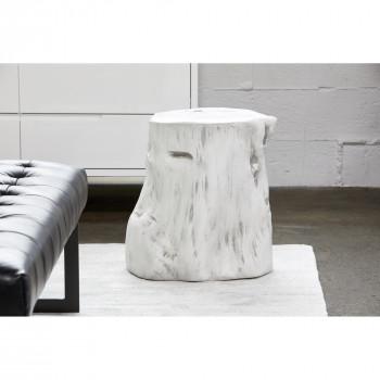Log Stool Antique White