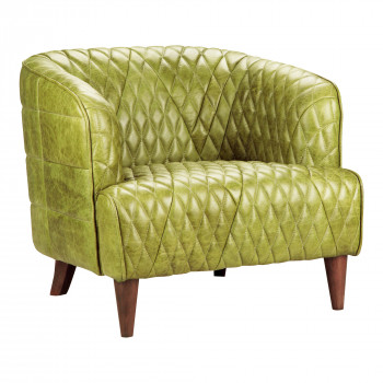 Magdelan Tufted Leather Arm Chair Emerald