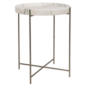 Chico Side Table, Antique Silver, Metal And Stone