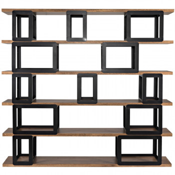 Fargo Bookcase, Dark Walnut And Metal