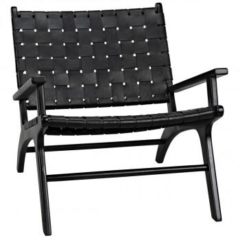 Kamara Arm Chair, Black With Black Leather