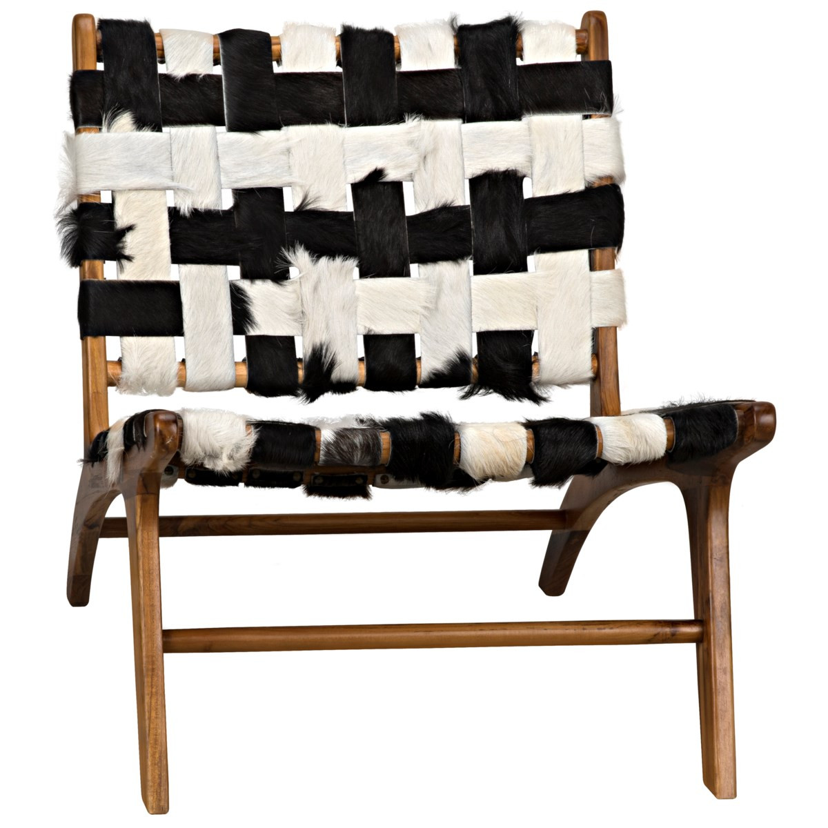Kamara Chair With No Arm, Black And White Cow Hide