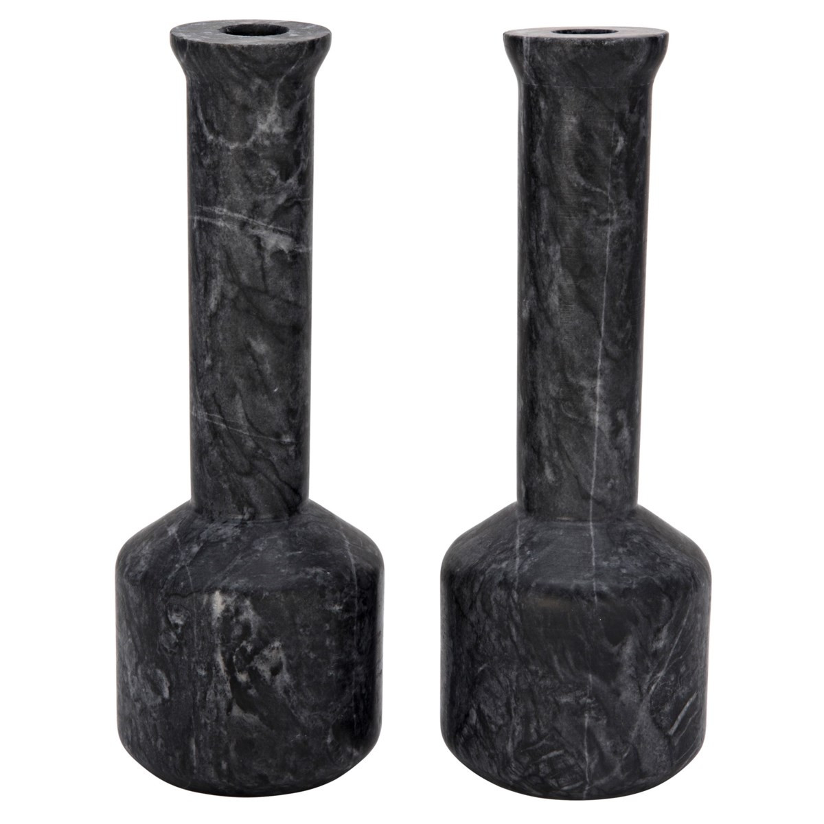 Markos Decorative Candle Holder, Set Of 2, Black Marble