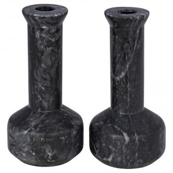 Milos Decorative Candle Holder, Set Of 2, Black Marble