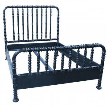 Qs Bachelor Bed, Queen, Hand Rubbed Black