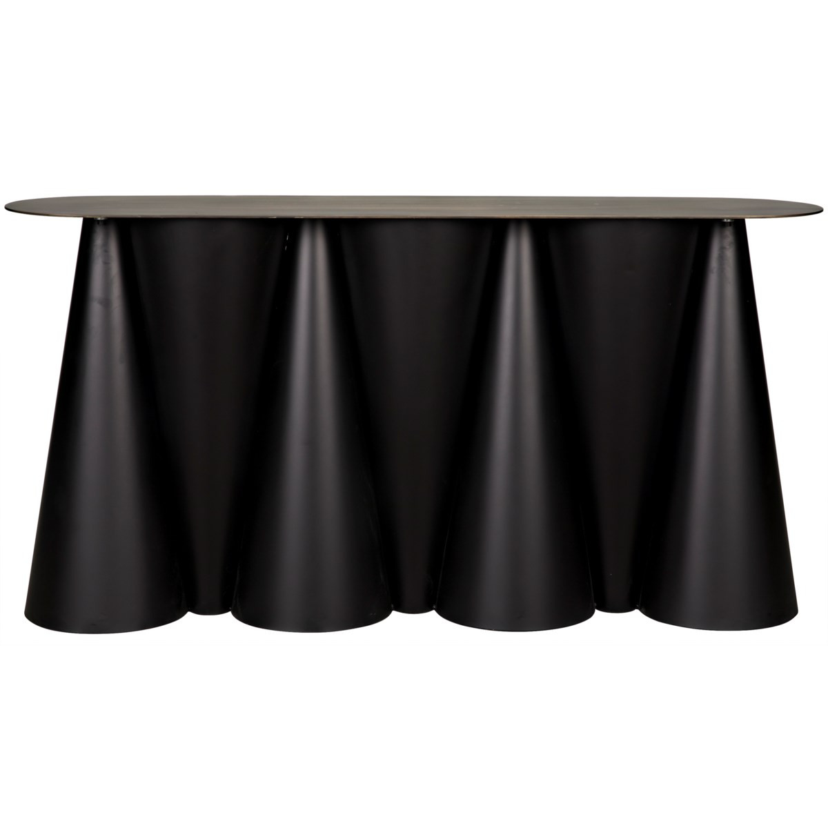 """Console, Fanciful draped look in black metal & aged brass finish, 59""""W"""