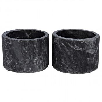 Syma Decorative Candle Holder, Set Of 2, Black Marble