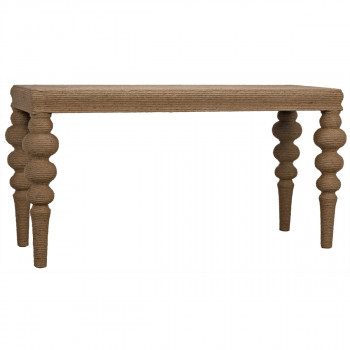 """Console, Coastal Style in Elm, traditional turned leg wrapped in rope adding texture, 60""""W"""