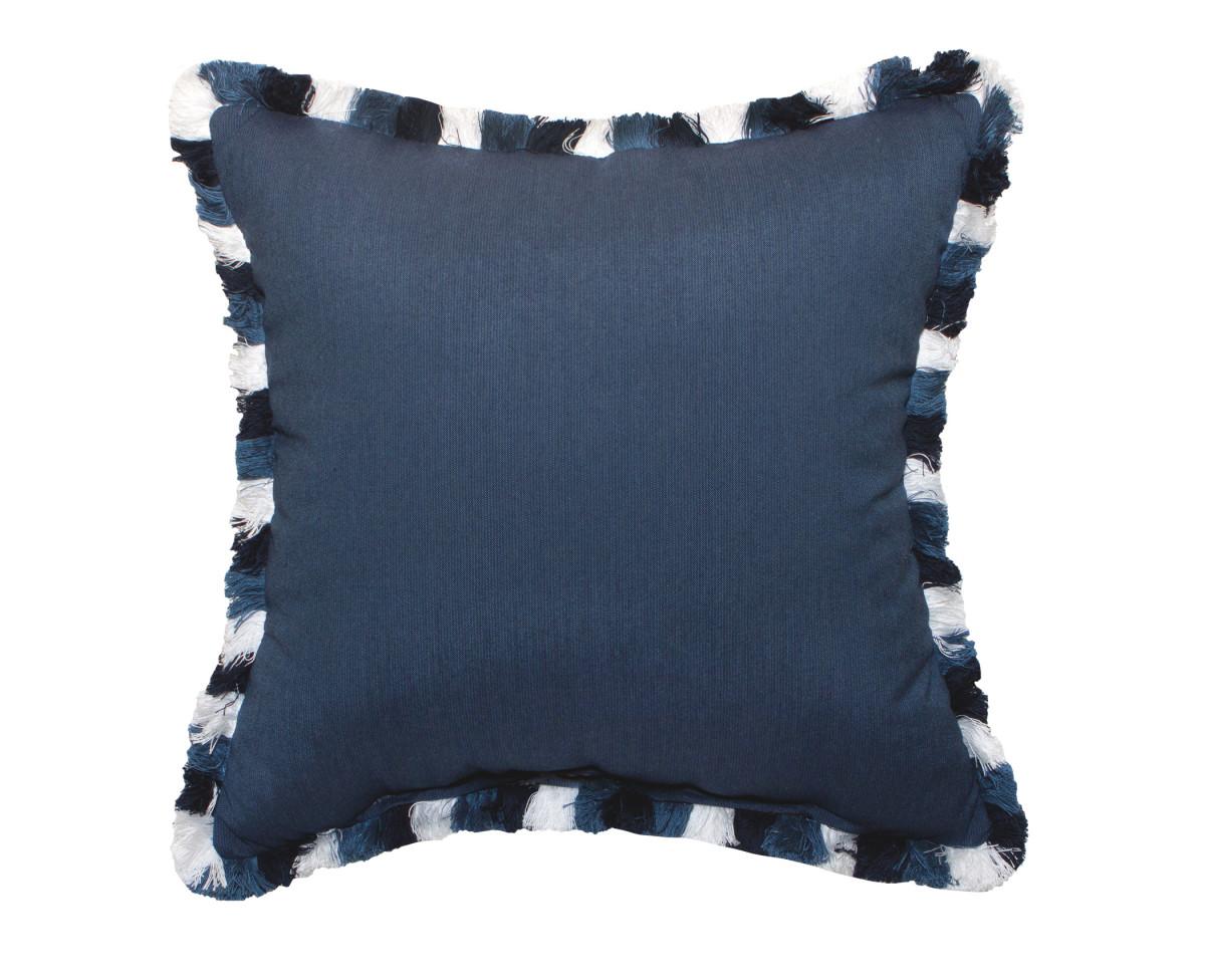 Pillow With Spectrum Indigo Fabric & Color Block Fringe