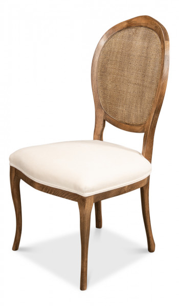 Oval Cane Back S/Chair Driftwood White
