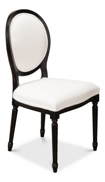 Round Back Side Chair Nero Crisp Cloud