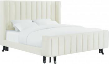 Waverly Cream Velvet Bed In King