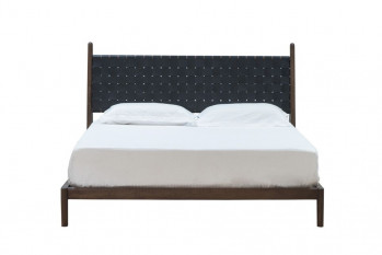 Cove Queen Bed - Black Leather